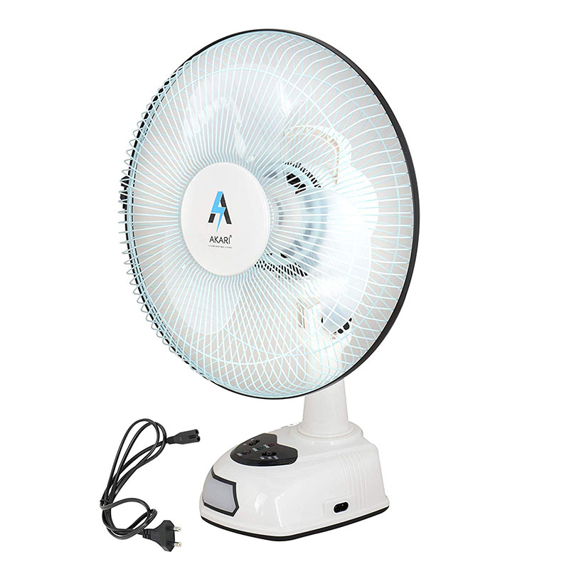 Akari Ak 8012 12 Rechargeable Ac Dc Table Fan With Emergency Led